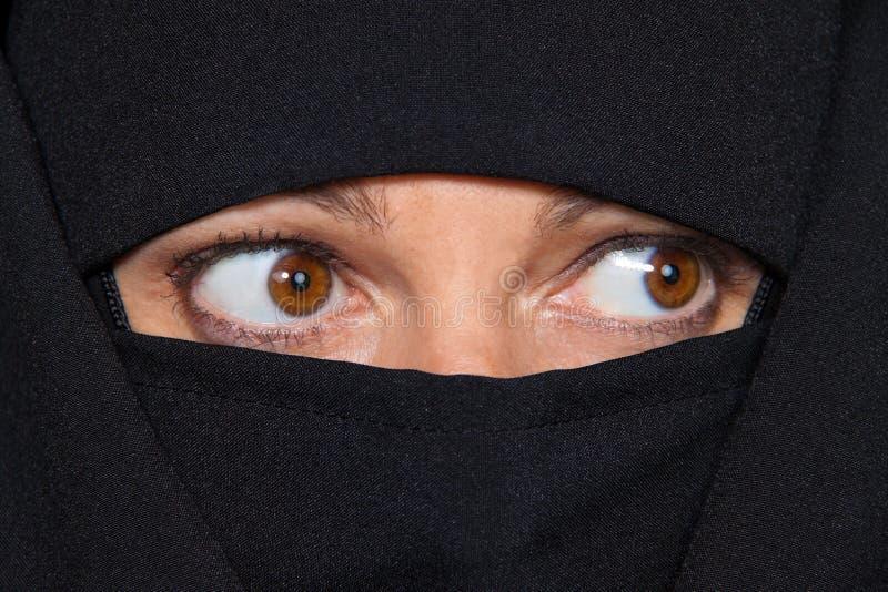 Islam della maschera di esempio. Donna velata musulmani immagini stock libere da diritti
