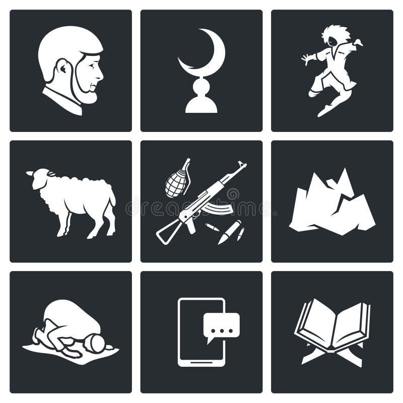 Islam en los iconos del vector de Chechenia fijados stock de ilustración