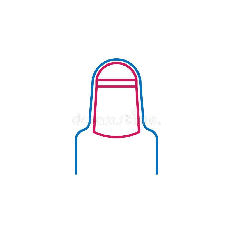 Islam, farbige Linie Ikone hijab Schleiers 2 Einfache blaue und rote Elementillustration Islam, hijab Schleierkonzeptentwurfs-Sym vektor abbildung