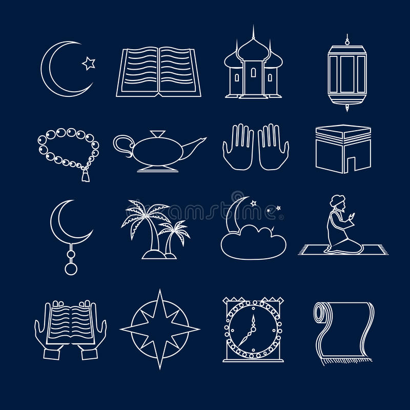 Islam icons set outline stock illustration