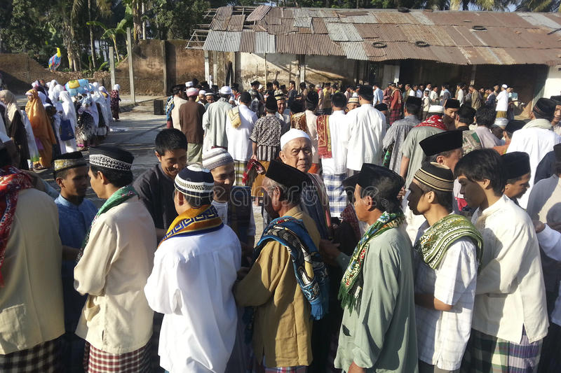 ISLAM IN INDONESIA. Muslims gather after the prayer of Eid El-Fitri in Banjarnegara, Java, Indonesia. Islam is the dominant religion in Indonesia, which also has stock images