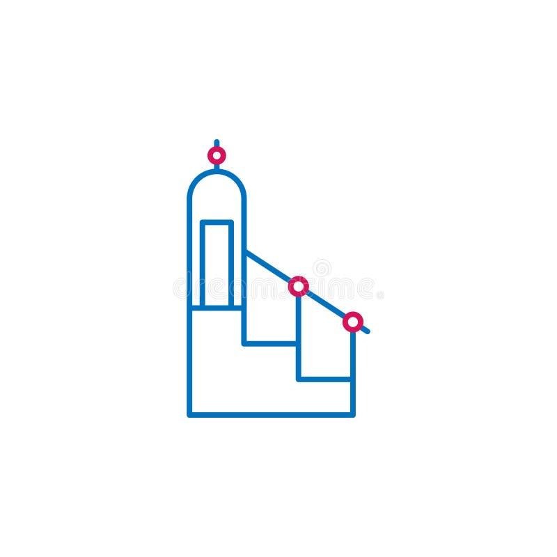 Islam, islamic minbar 2 colored line icon. Simple blue and red element illustration. Islam, islamic minbar concept outline symbol vector illustration