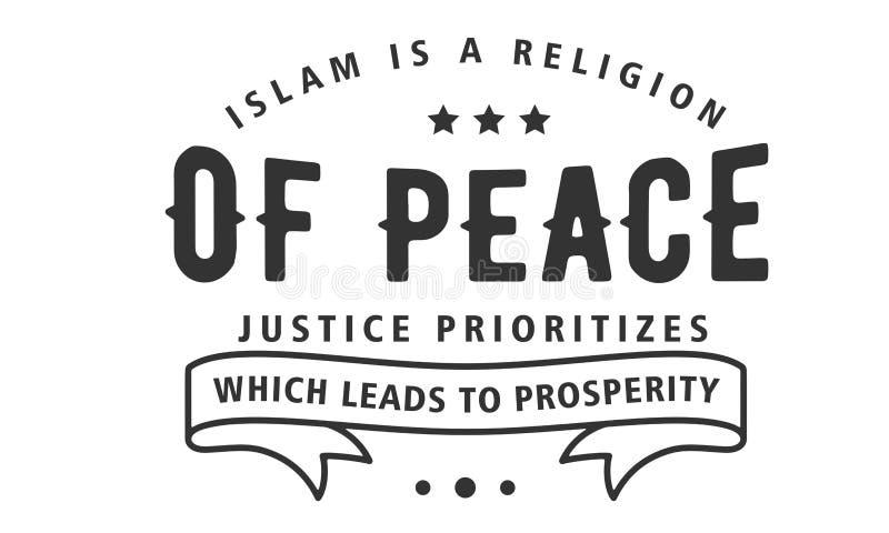 Islam jest religią pokój sprawiedliwość która prowadzi dobrobyt priorytetyzuje ilustracja wektor