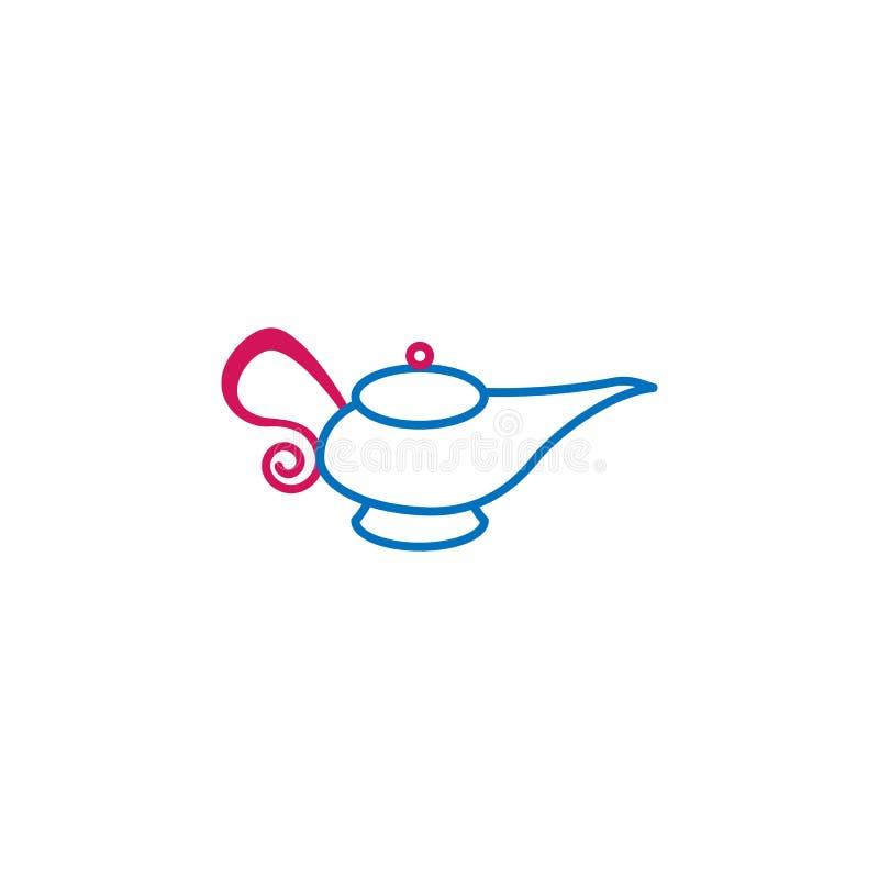 Islam kulör linje symbol för ande i arabiska sagorlampa 2 Enkel blå och röd beståndsdelillustration Islam design för symbol för ö royaltyfri illustrationer