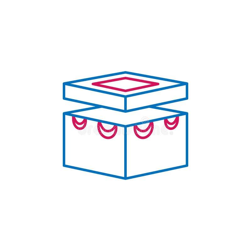 Islam kulör linje symbol för Kaaba Mecka 2 Enkel blå och röd beståndsdelillustration Islam design för symbol för översikt för Kaa stock illustrationer