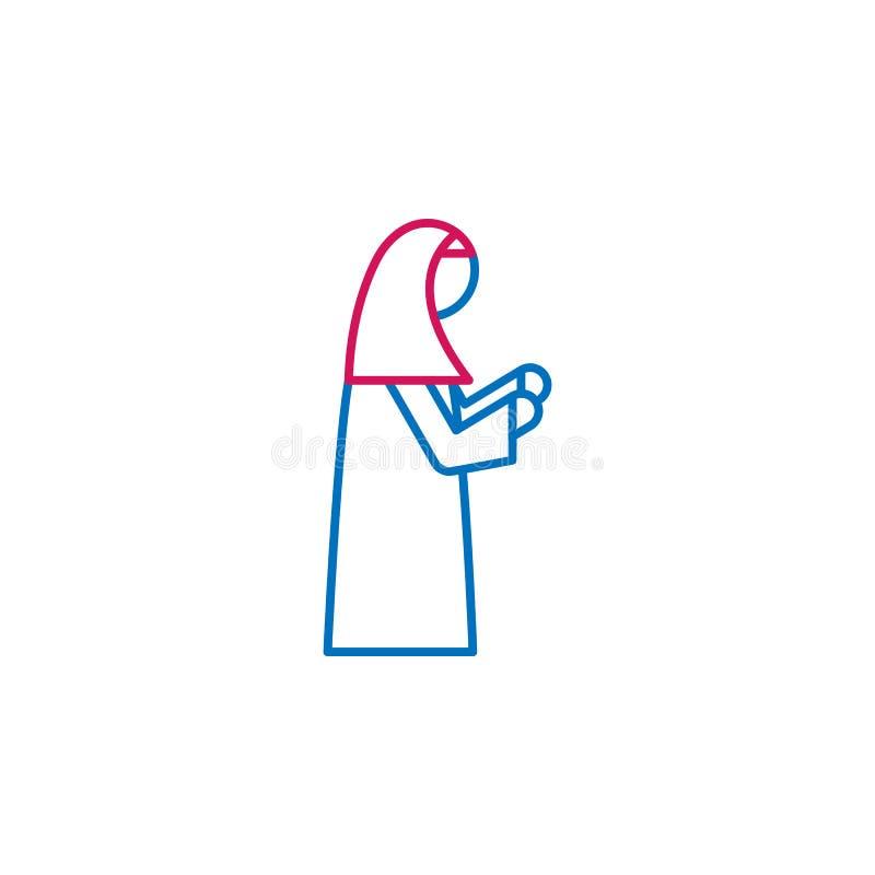 Islam muslim kvinna som ber 2 kulör linje symbol Enkel blå och röd beståndsdelillustration Islam muslim kvinna som ber begrepp vektor illustrationer