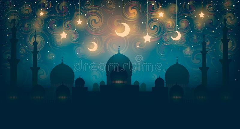 islam Noite oriental mágica na imagem do vetor Vector a ilustração da noite fantástica no palácio oriental com dourado ilustração royalty free