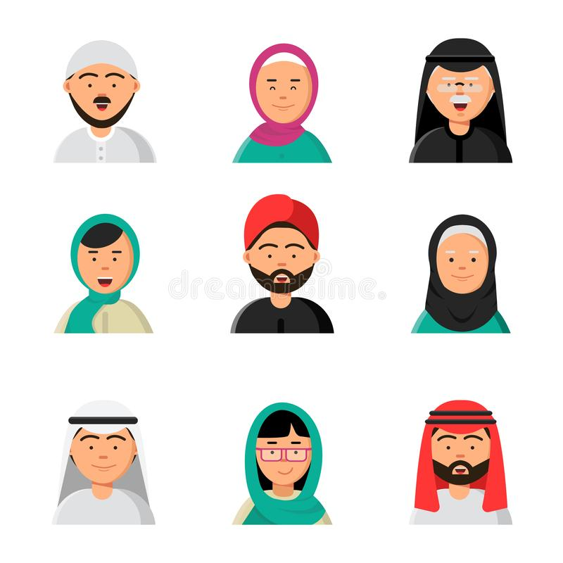 Islam people icon. Web arabic avatars muslim heads of male and female in hijab niqab vector saudi faces in flat style stock illustration