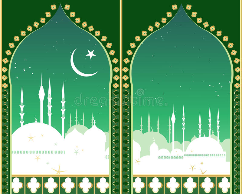 Islam skyline. An illustration of an islamic city skyline at night with crescent moon star domes mosques and minarets viewed through two fancy eastern style stock illustration