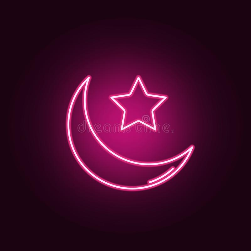 islam star and crescent moon neon icon. Elements of Religion set. Simple icon for websites, web design, mobile app, info graphics stock images