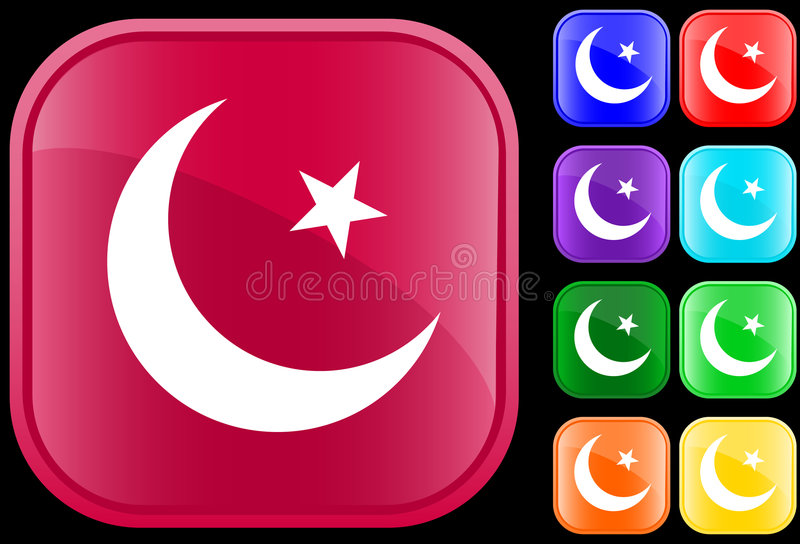 Islam symbol. On shiny square buttons vector illustration