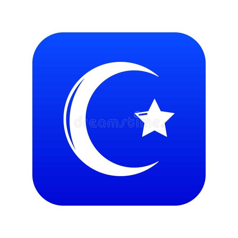 Islam van het ster toenemende symbool pictogram blauwe vector royalty-vrije illustratie
