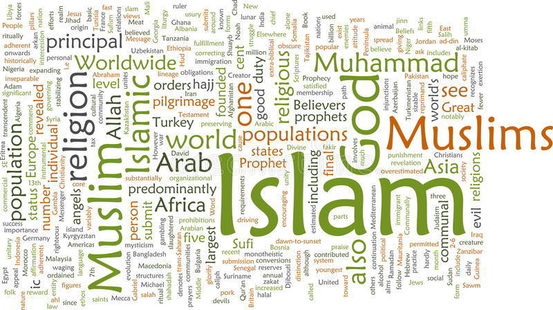Islam word cloud stock images
