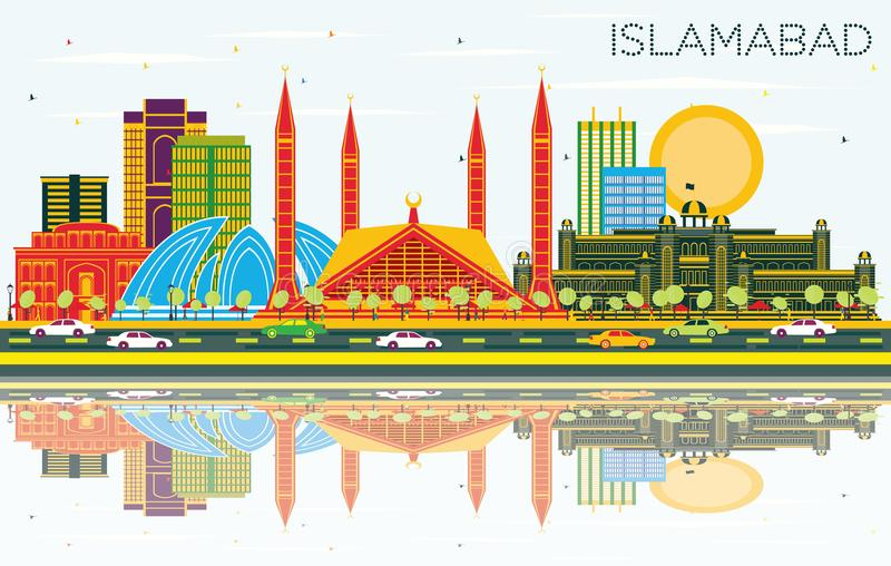 Islamabad Pakistan City Skyline with Color Buildings, Blue Sky a. Nd Reflections. Vector Illustration. Business Travel and Tourism Concept with Historic vector illustration