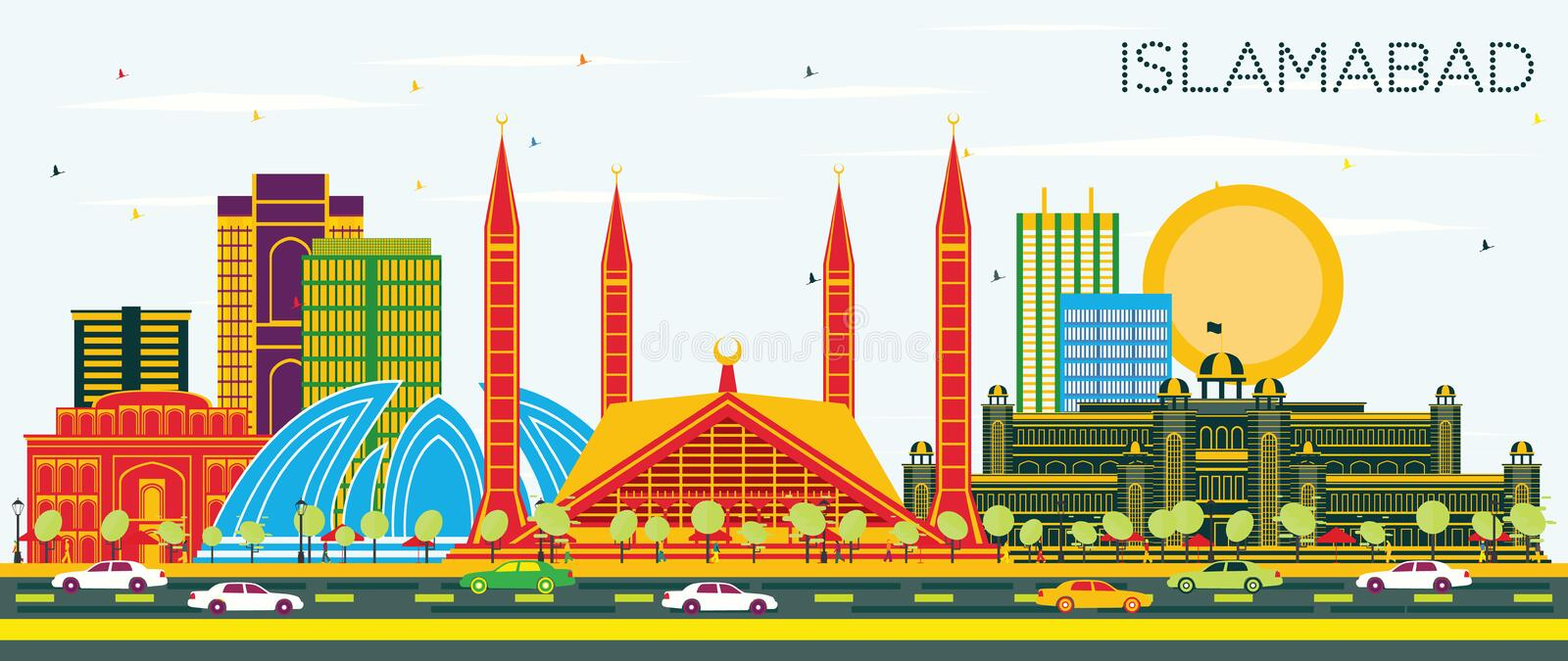 Islamabad Pakistan City Skyline with Color Buildings and Blue Sk. Y. Vector Illustration. Business Travel and Tourism Concept with Historic Architecture royalty free illustration