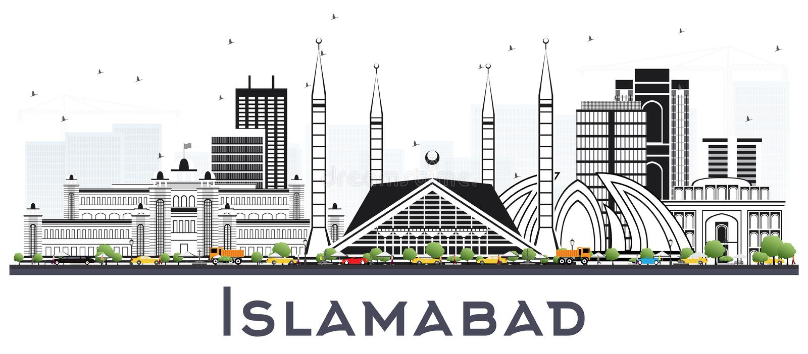 Islamabad Pakistan City Skyline with Gray Buildings Isolated on. White. Vector Illustration. Business Travel and Tourism Concept with Historic Architecture royalty free illustration
