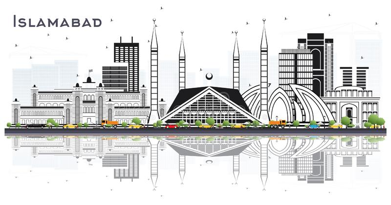 Islamabad Pakistan City Skyline with Gray Buildings Isolated on White. Vector Illustration. Business Travel and Tourism Concept with Historic Architecture stock illustration