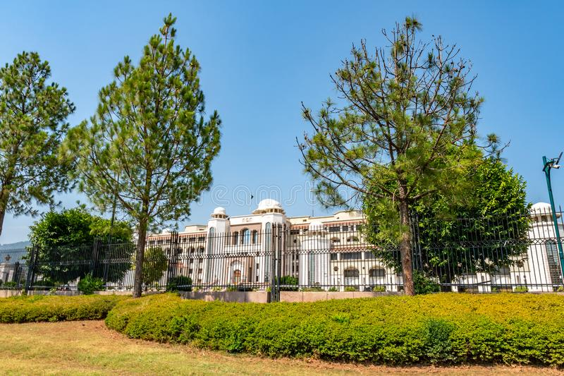 Islamabad Pakistan Secretariat 129. Islamabad Pakistan Secretariat Picturesque Breathtaking View at Constitution Avenue on a Sunny Blue Sky Day royalty free stock photography
