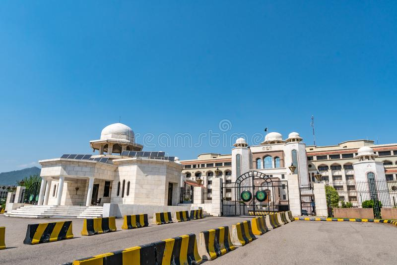 Islamabad Pakistan Secretariat 130. Islamabad Pakistan Secretariat Picturesque Breathtaking View at Constitution Avenue on a Sunny Blue Sky Day royalty free stock photography