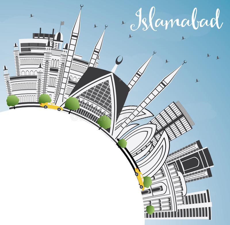 Islamabad Skyline with Gray Buildings, Blue Sky and Copy Space. Vector Illustration. Business Travel and Tourism Concept with Historic Architecture. Image for royalty free illustration
