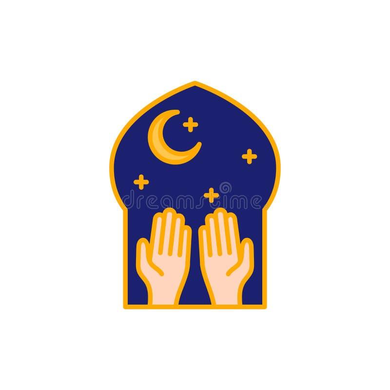 Islambönhänder på nattetiden i moskén Enkel monolinesymbolsstil för muslim ramadan och beröm för eidalfitr royaltyfri illustrationer