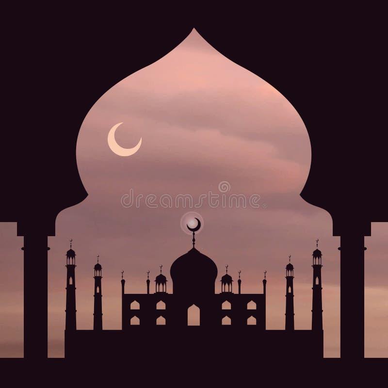 Islamhintergrund Moschee, Bogen Staubiger rosafarbener Himmel lizenzfreie abbildung