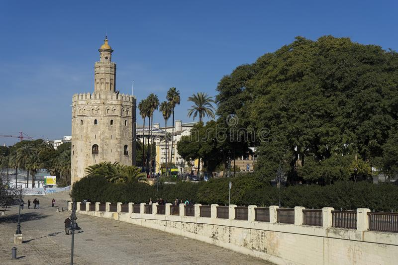 Monuments of Seville, La Torre del Oro. Islamic ancient tower Seville and served vigilance against Christians royalty free stock photography