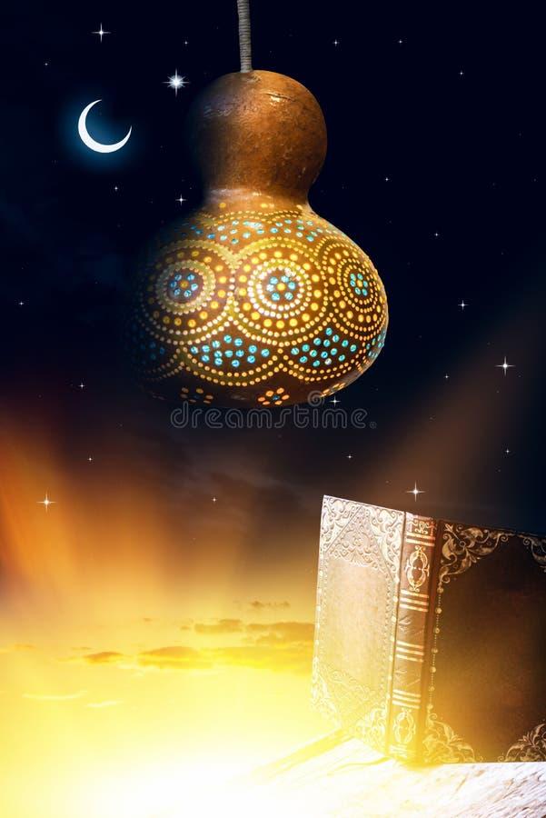 Islamic arabic ornament . Religious flashlight. . The Muslim Feast of the Holy Month of Ramazan Kareem Beautiful Premise with a Shining Flashlight stock photography