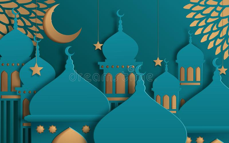 Islamic beautiful design template. Mosque with yellow moon and stars on turquoise background in paper cut style. Ramadan kareem stock illustration