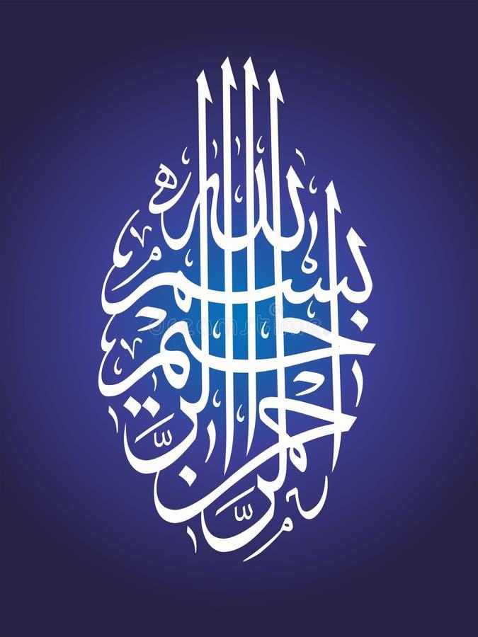 Islamic Calligraphy Wallpaper Poster Bismillah Stock Photo ... Bismillah Calligraphy Blue