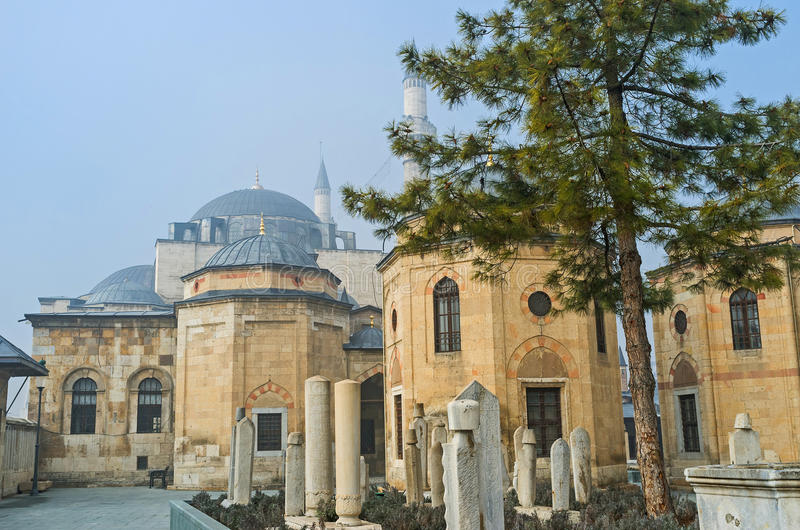 The islamic cemetery. The old cemetery in Mevlana Museum, Konya, Turkey stock photos