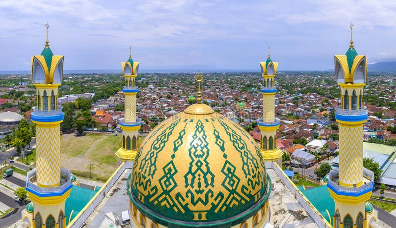 Islamic Center Mosque in Mataram. View from the beautiful modern, yet very traditional Islamic Center Mosque in downtown Mataram, Lombok, Indonesia royalty free stock photo
