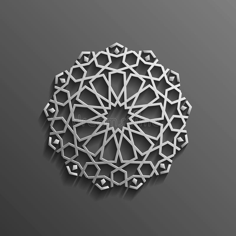 Islamic 3d on dark mandala round ornament background architectural muslim texture design . Can be used for brochures stock illustration