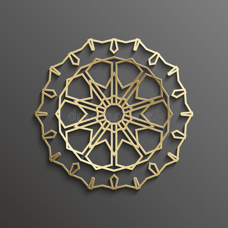 Islamic 3d gold on dark mandala round ornament background architectural muslim texture design . Can be used for. Brochures invitations,persian royalty free illustration