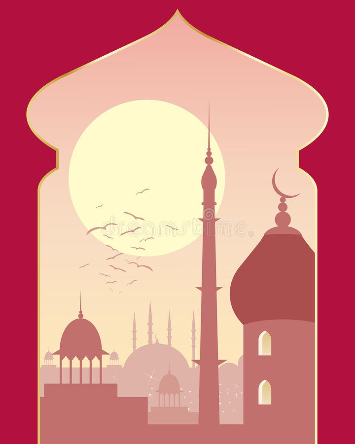 Islamic day scene. An illustration of an islamic urban scene with mosque and asian architecture on a sunny evening viewed through a decorative archway royalty free illustration