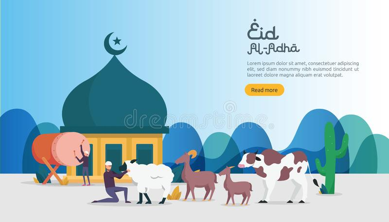 islamic design illustration concept for Happy eid al adha or sacrifice celebration event with people character for web landing royalty free illustration