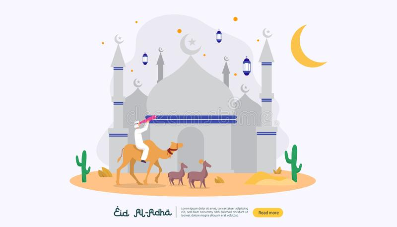 islamic design illustration concept for Happy eid al adha or sacrifice celebration event with people character for web landing vector illustration