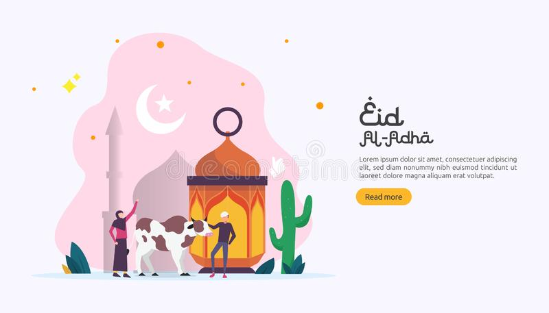 islamic design illustration concept for Happy eid al adha or sacrifice celebration event with people character for web landing stock illustration