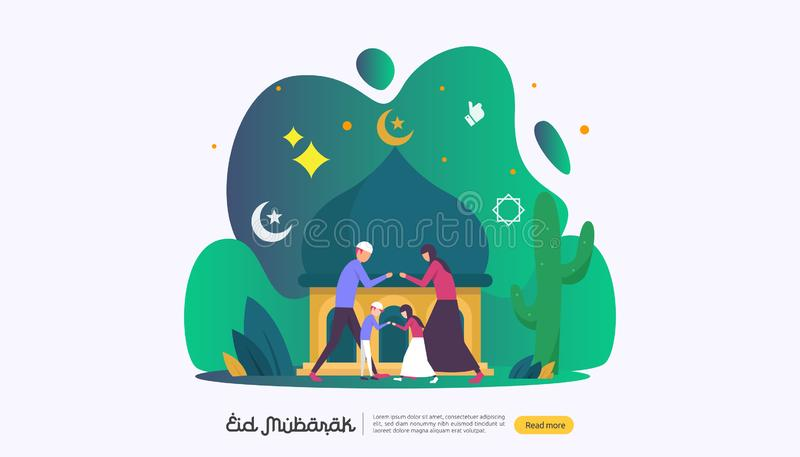 islamic design illustration concept for Happy eid mubarak or ramadan greeting with people character. template for web landing page stock illustration