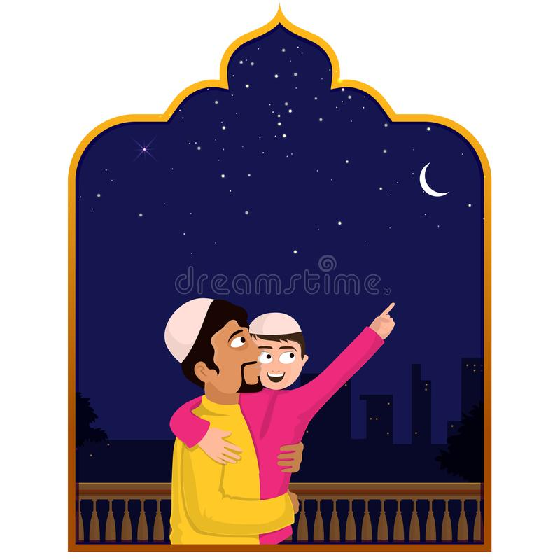Islamic father and son seeing crescent moon together, Eid Mubarak celebrations concept. royalty free illustration