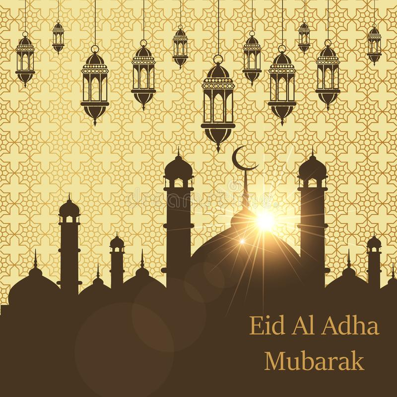 Islamic Festival of Sacrifice, Eid Al Adha Mubarak Greeting Card. Vector background stock illustration