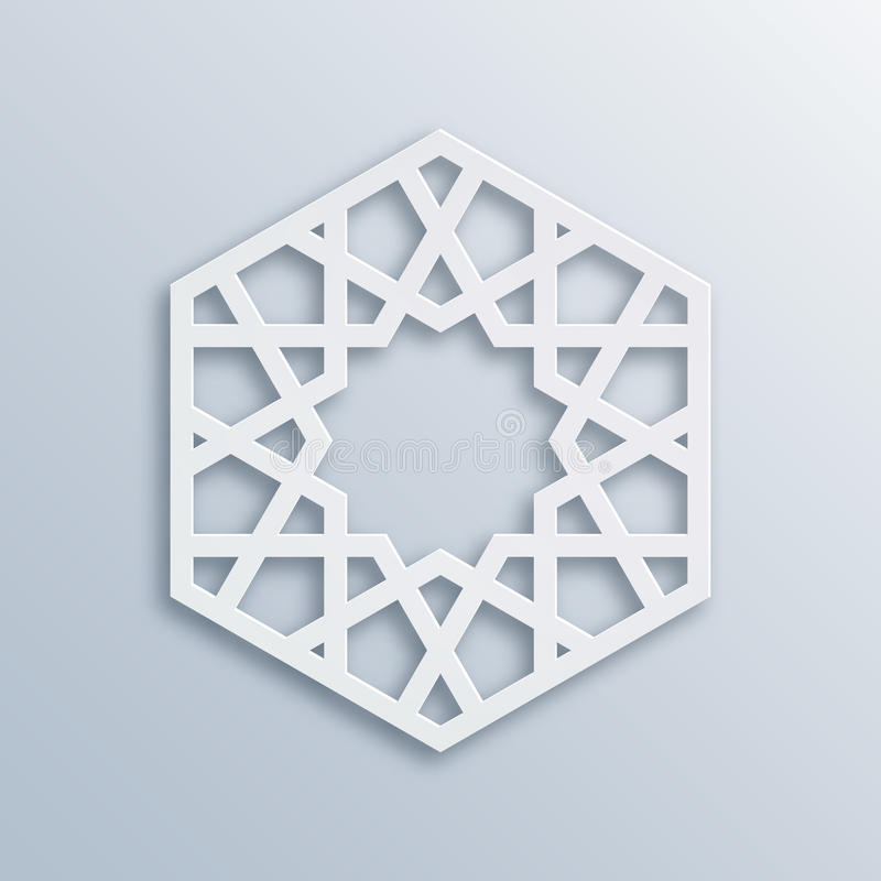 Islamic geometric pattern. Vector muslim mosaic, persian motif. Elegant white oriental ornament, traditional arabic art. Mosque decoration element. 3D stock illustration