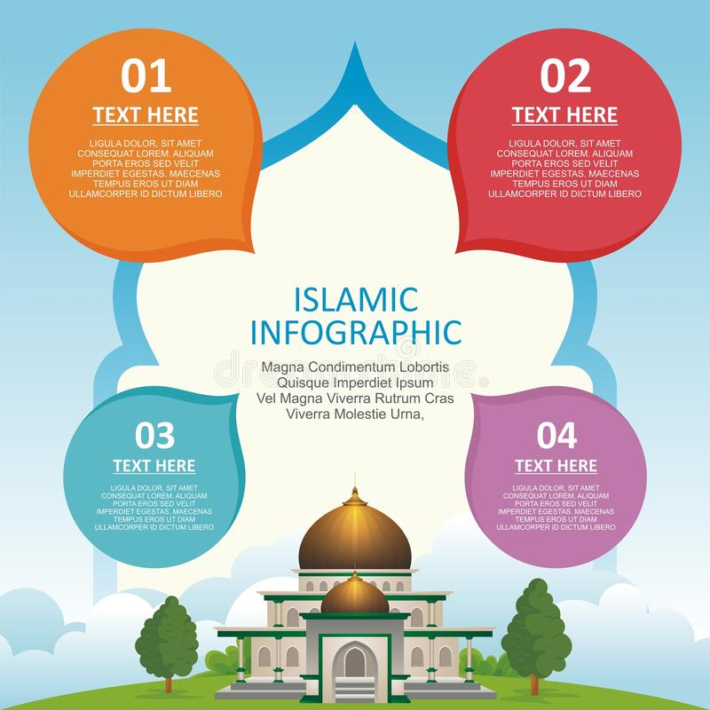 Islamic Infographic with mosque building stock illustration