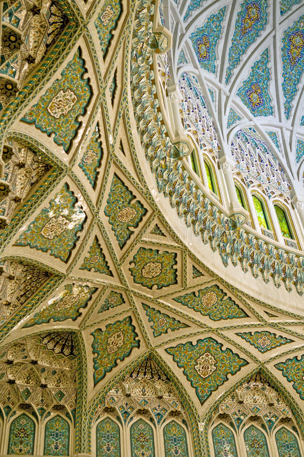 Islamic inscriptions. Of Sultan Qaboos grand Mosque, Muscat, Oman stock photo