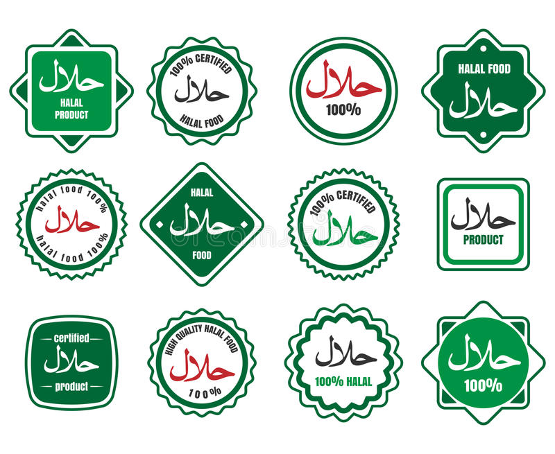 Islamic Kosher Certified Meal Emblems Stock Vector Illustration Of