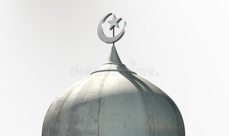 Islamic Minaret. A closeup of the top of a mosque minaret with a cupola dome and an islamic crescent moon and star on a blue sky background stock illustration