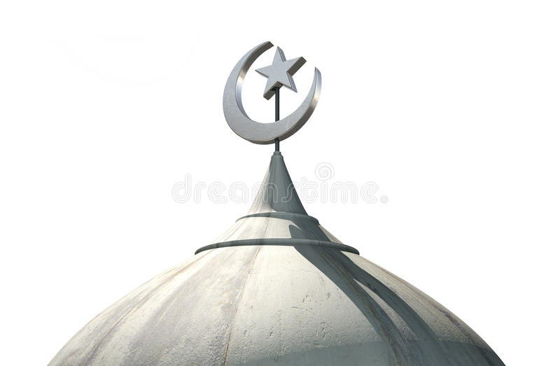 Islamic Minaret. A closeup of the top of a mosque minaret with a cupola dome and an islamic crescent moon and star on a blue sky background vector illustration