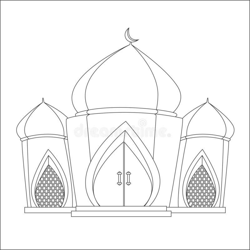 Islamic Mosque Coloring Page Vector Stock Vector