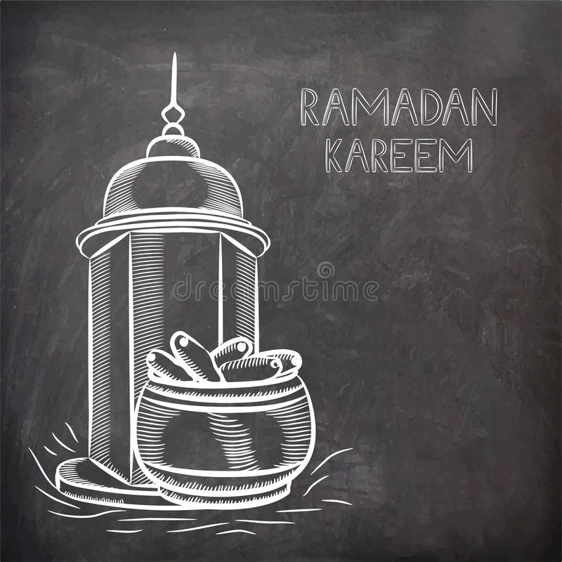Islamic Mosque with dates for Ramadan Kareem celebration. Islamic Mosque with dates in a pot on chalkboard for holy month of Muslim community Ramadan Kareem stock illustration
