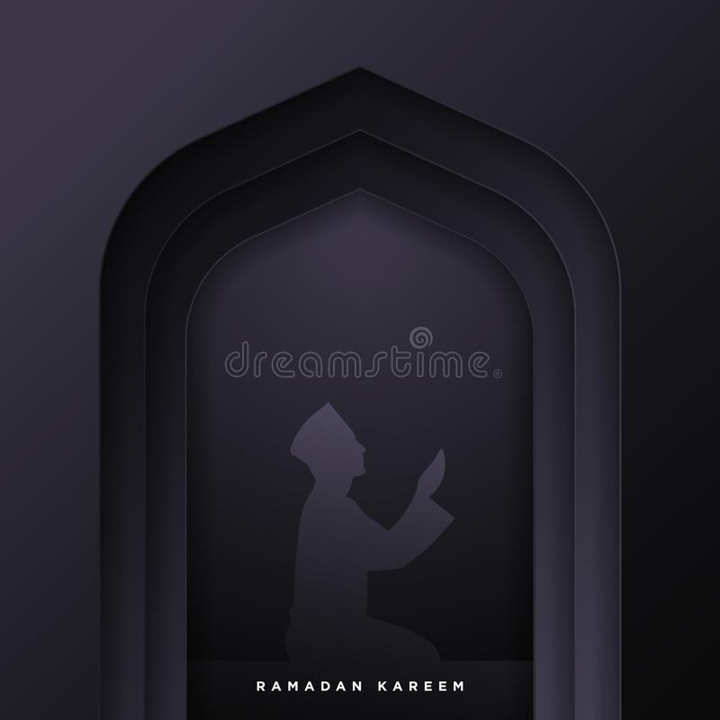 Islamic mosque door for ramadan kareem vector greeting banner background with art paper cut style, man prayer scenery. Creative stock illustration